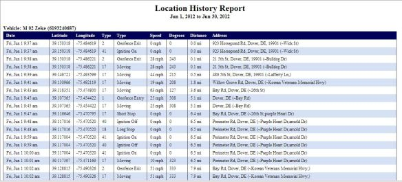 Magnum AVL Location History Report