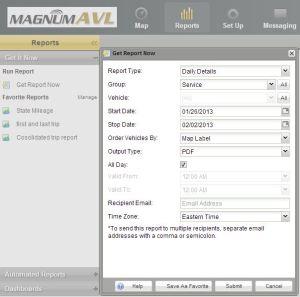 AVL Reports Menu Options