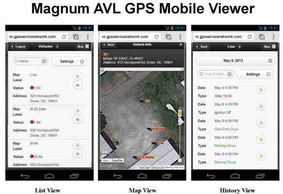Mobile Viewer List, Map, History Screen Shots