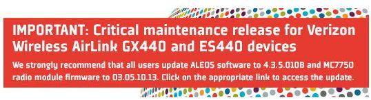 VZW GX440, ES440 Critical Maintenance Warning