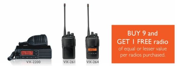 Buy 9 Analog VX-260 Radios Get 1 Free