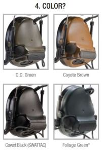 OD green, coyote brown, black, foliage green Headsets