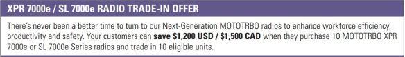 Motorola XPR 7000e, SL 7000e Buy 10 Get $1200