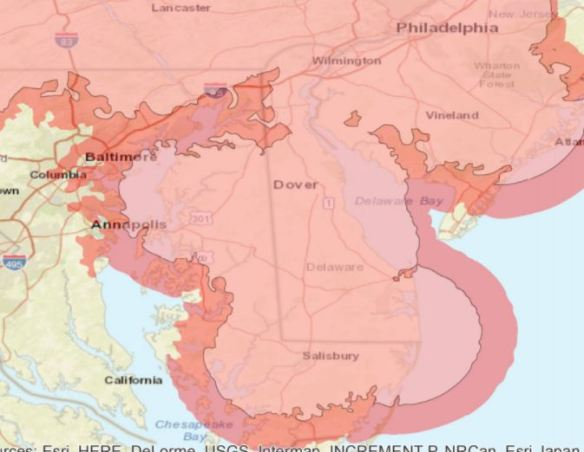 DE MD PA 2-way radio map