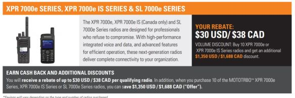 XPR 7000e and SL 7000e Rebate
