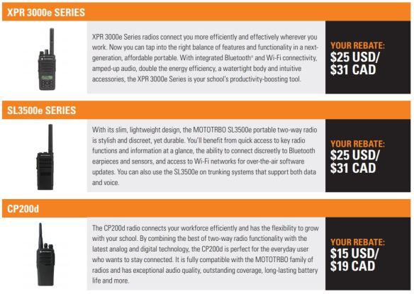 XPR 3000e,SL3500e CP200d Rebates
