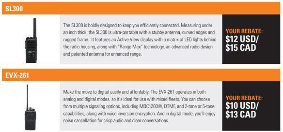 SL300, EVX-261 Rebates Per Radio