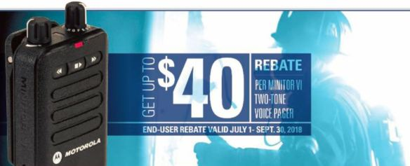 Up to $40 Rebate For Each Minitor VI Fire Pager Purchased