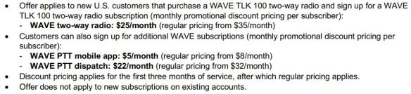 WAVE TLK 100, PTT Mobile App, and Dispatch Discounts
