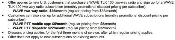WAVE TLK 100, PTT Mobile App, and Dispatch Discounts